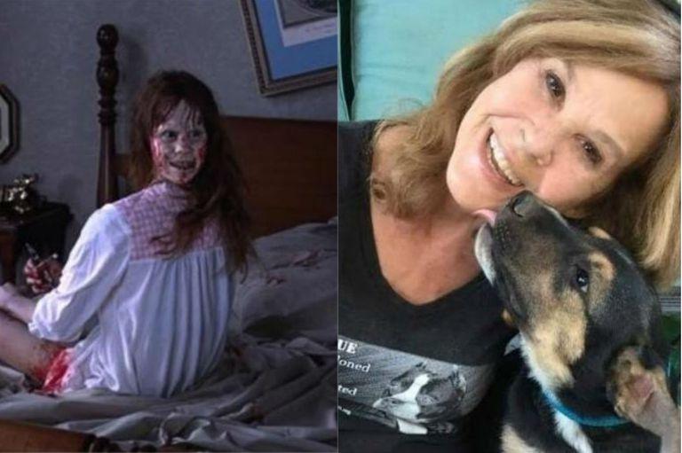 Linda Blair en una terrorífica escena de El exorcista (izquierda) y en la actualidad