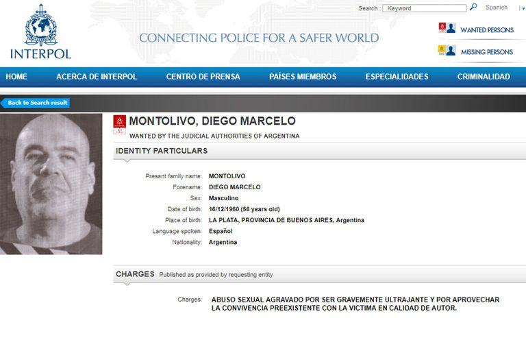 La ficha de Montolivo en la página de Interpol