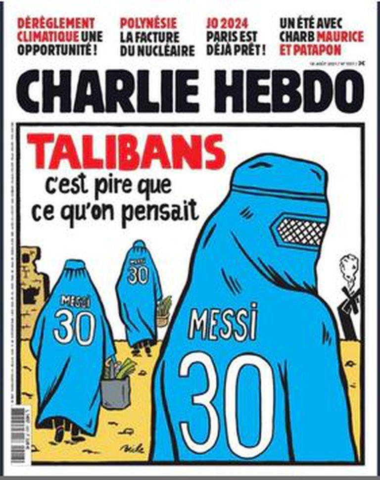 La tapa de Charlie Hebdo sobre la situación en Afganistán.