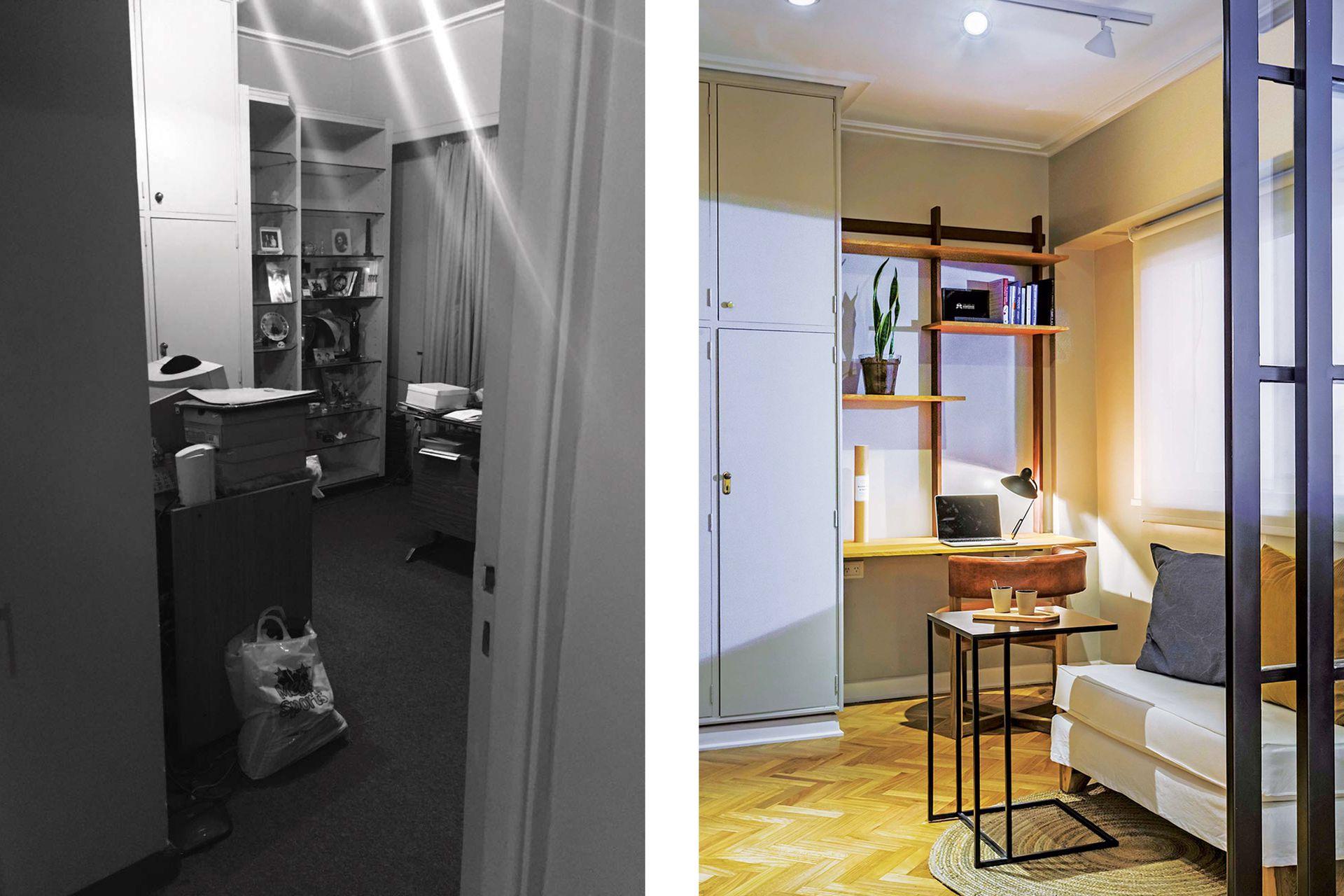 ANTES: el segundo dormitorio era independiente del living.  DESPUÉS: con una puerta corrediza de hierro y vidrio repartido, se abrió para convertirse en una sala de estar capaz de funcionar como extensión del comedor o espacio independiente.