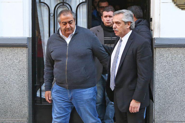 Héctor Daer, el jefe de la CGT, y el presidente Alberto Fernández