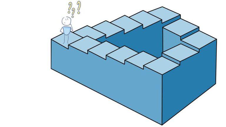 """Conocida también como """"escalera infinita"""" o """"imposible"""", es una ilusión óptica descrita por los matemáticos ingleses Lionel Penrose y su hijo Roger Penrose en 1958"""