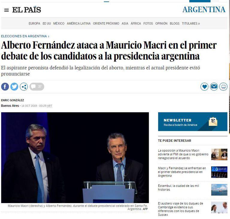 El diario español destacó la actitud de Fernández en el debate presidencial