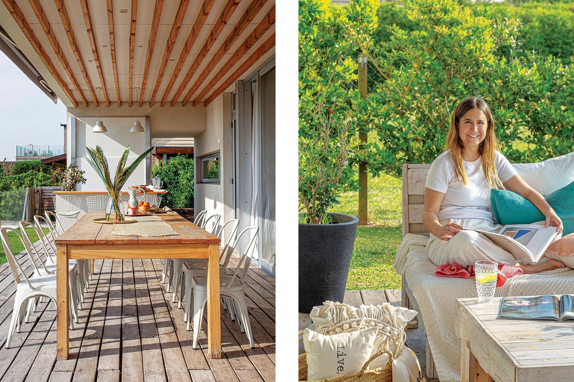 En la galería, mesa de pino Paraná (Brick) con sillas 'Tolix' blancas. Al lado, Agustina retratada en el living de exterior, con mesa y bancos de madera reciclada (La Isla), mantas y almohadones de colores (Mimi Home Love). Canasta (VB Home).