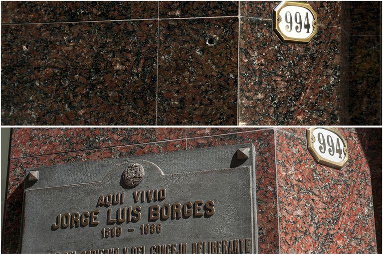 Ahora y antes, el frente del edificio de la calle Maipú donde vivió Borges