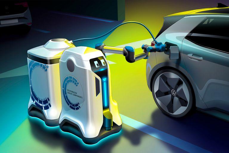 Playero robot: así es el asistente de Volkswagen para cargar autos eléctricos