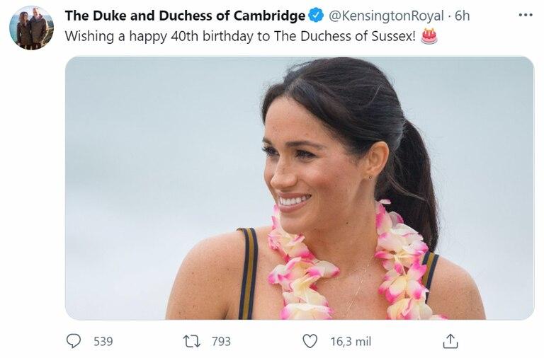 El saludo de Kate Middleton y el príncipe William para su cuñada