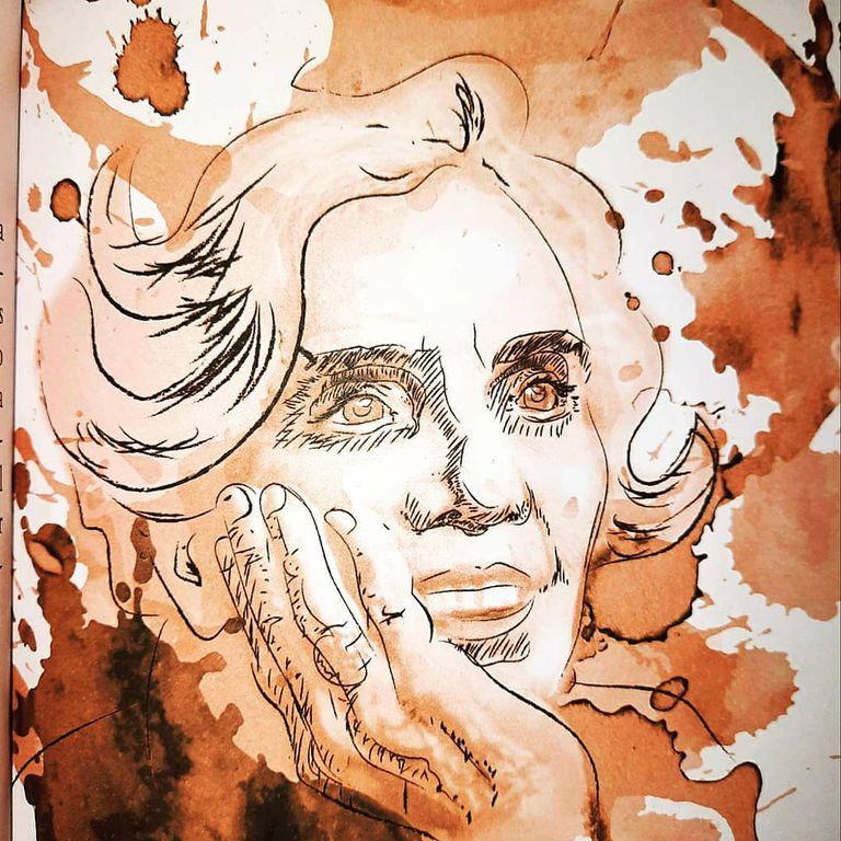 Retratos hechos con tinta de café, en un libro para amantes de la literatura
