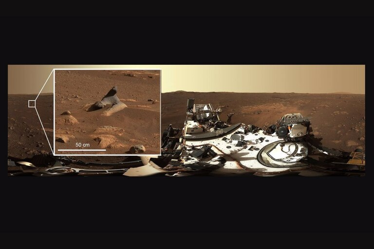 Esta roca tallada por el viento que se ve en la primera panorámica de 360 grados tomada por el instrumento Mastcam-Z muestra cuántos detalles capturan los sistemas de cámaras