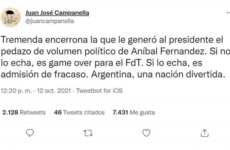 """Juan José Campanella expresó en un tuit que el mensaje intimidatorio de Aníbal Fernández contra Nik le generó al presidente una """"tremenda encerrona"""""""
