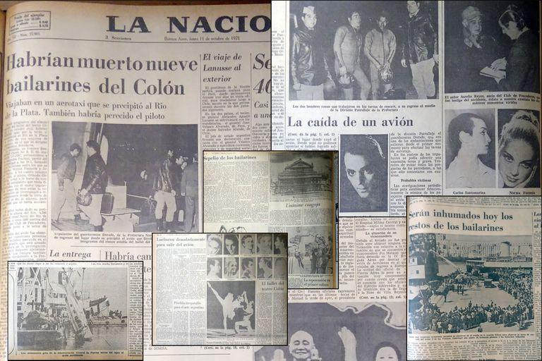 Collage con recortes de tapas e interiores de LA NACION acerca del accidente aéreo donde murió un grupo de bailarines del Teatro Colón, en octubre de 1971