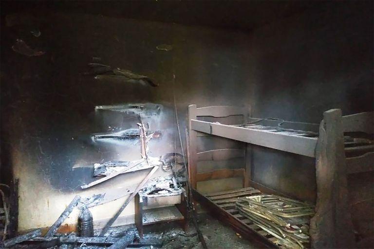 Así quedó la cabaña luego del incendio