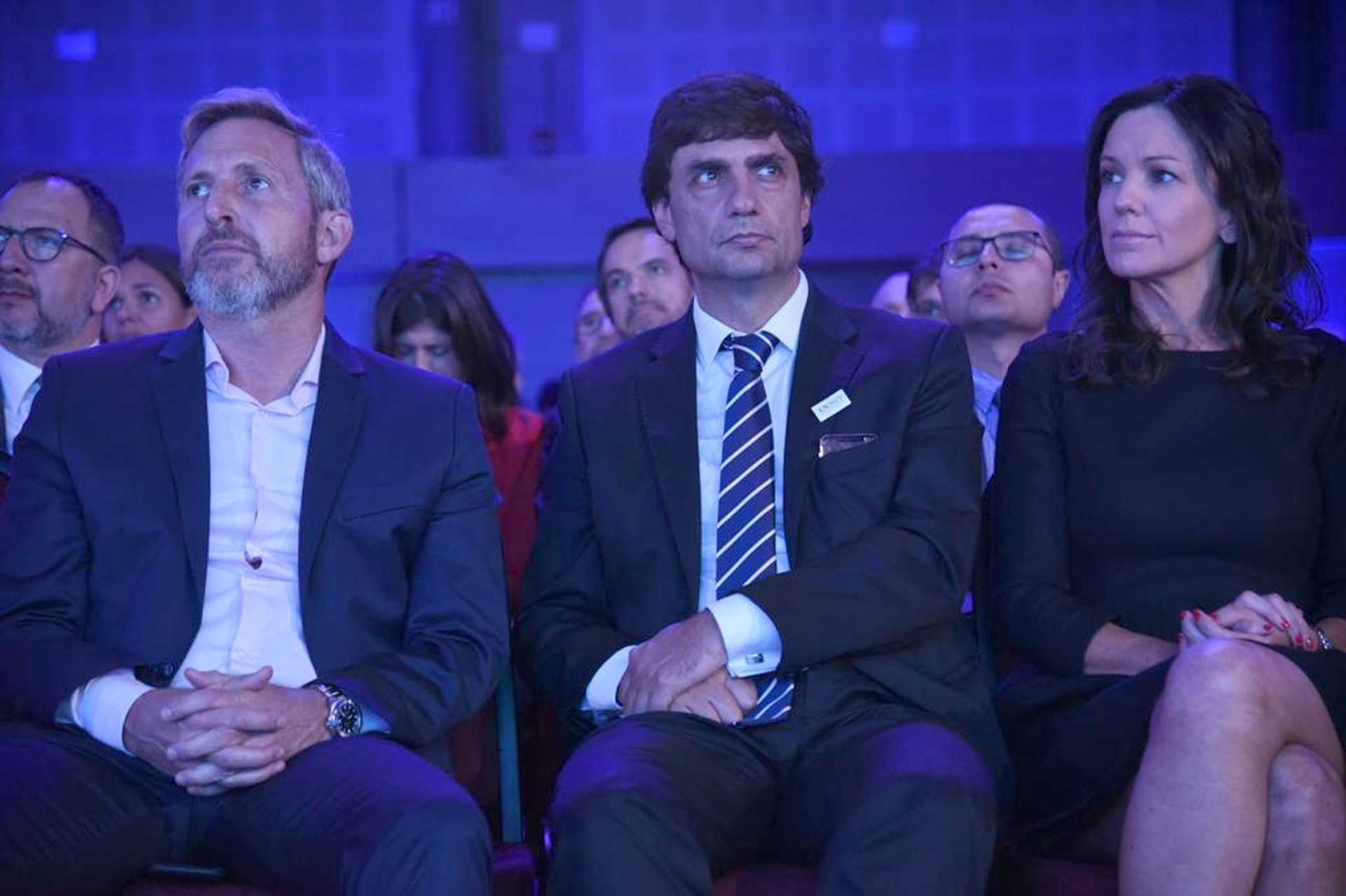 El ministro del Interior, Rogelio Frigerio, el ministro de Hacienda, Hernán Lacunza, y la ministra de Desarrollo Social, Carolina Stanley