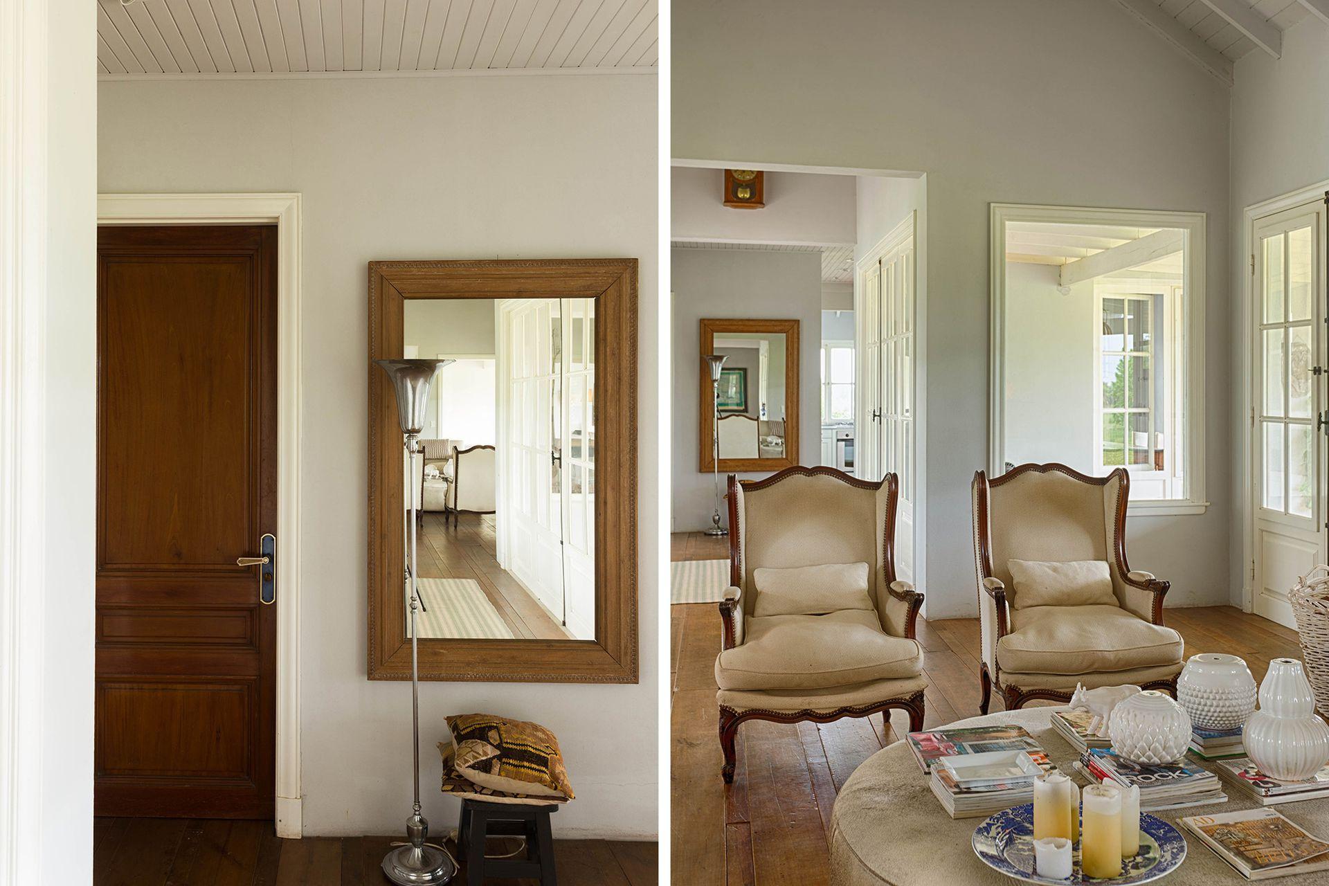 Los dos extremos del living están rematados por amplios pasillos que salen a las galerías y conducen a los otros volúmenes.