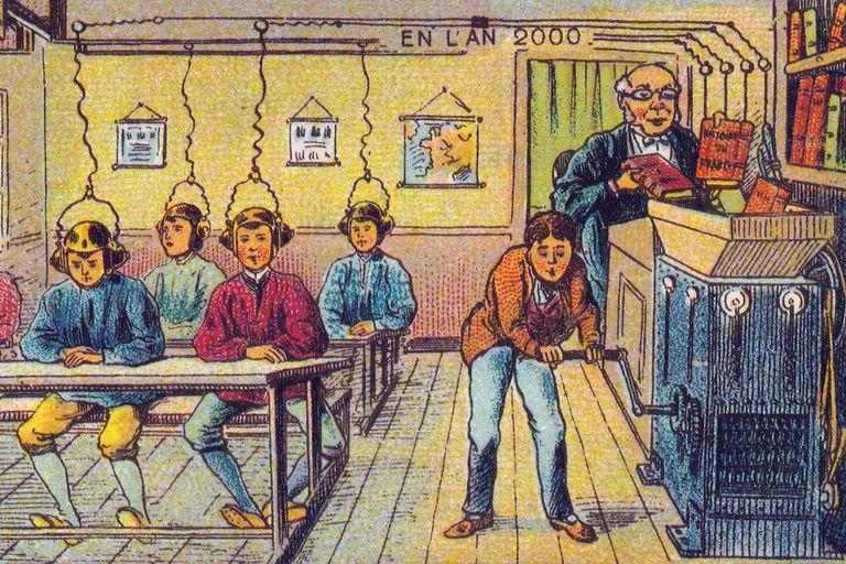 La educación en el año 2000, tal como la imaginó el artista Jean-Marc Coté en 1900 para la Feria Mundial de París