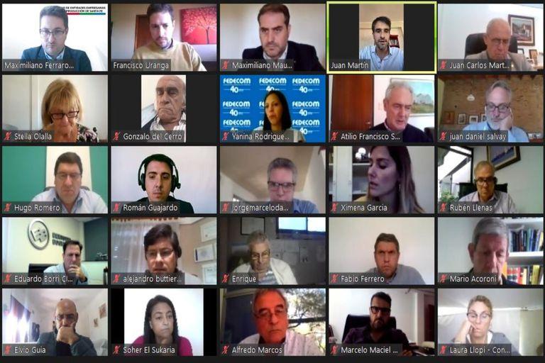 Algunos de los participantes de la reunión virtual por la ley de biocombustibles