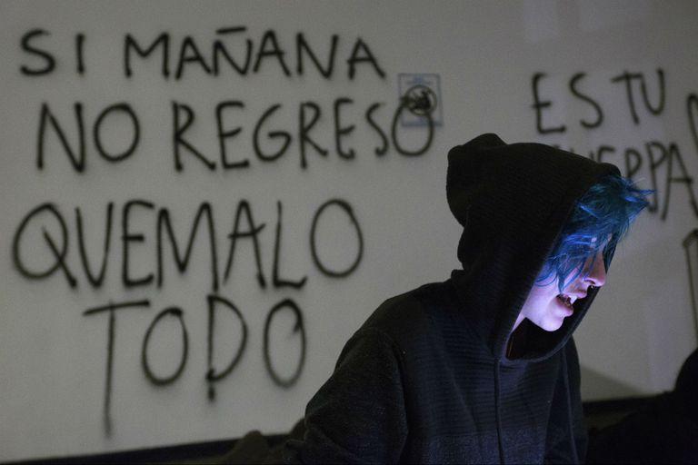 Un graffiti denunciando la violencia contra las mujeres en México