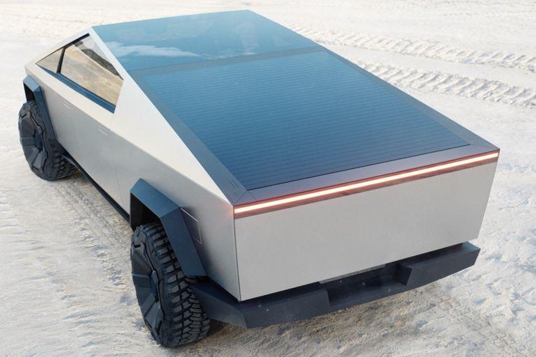 La camioneta Tesla Cybertruck con la caja cerrada