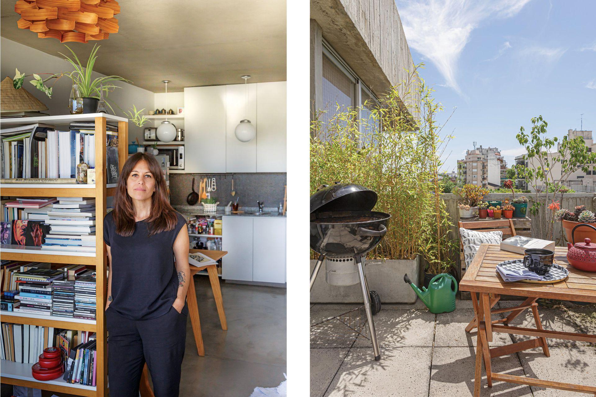 Izq.: Natalia Toussaint, sonidista y dueña de casa. Der.: La terraza se vive como un ambiente más. Natalia está la mañana en casa, así que disfruta de desayunos al sol y de la calma en ese momento del día. Parrilla (Mercado Libre). Mesa y sillas (Easy).