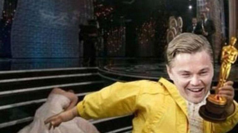 Leo le roba el Oscar a Jennifer Lawrence