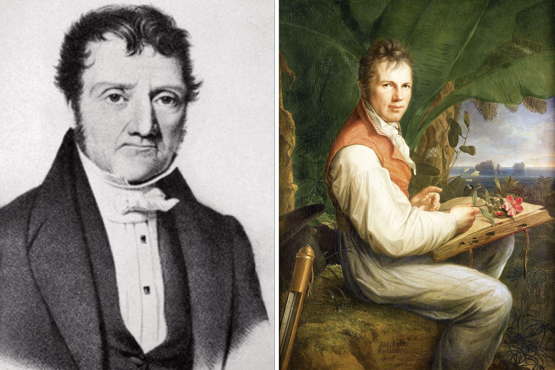 Aimé Bonpland (izquierda) y Alexander von Humboldt (derecha), dos botánicos célebres que emprendieron juntos expediciones naturalistas y dejaron una huella imborrable en el mundo de la botánica.
