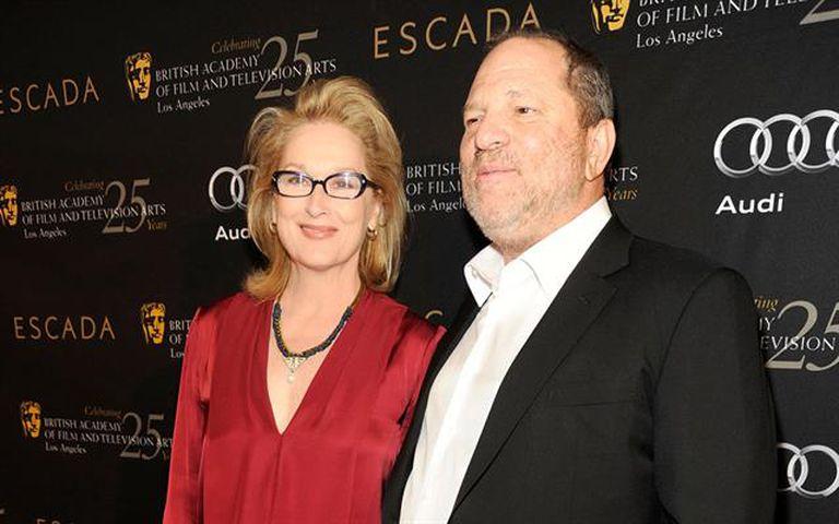 Meryl Streep durante un lanzamiento tiempo atrás junto a Weinstein