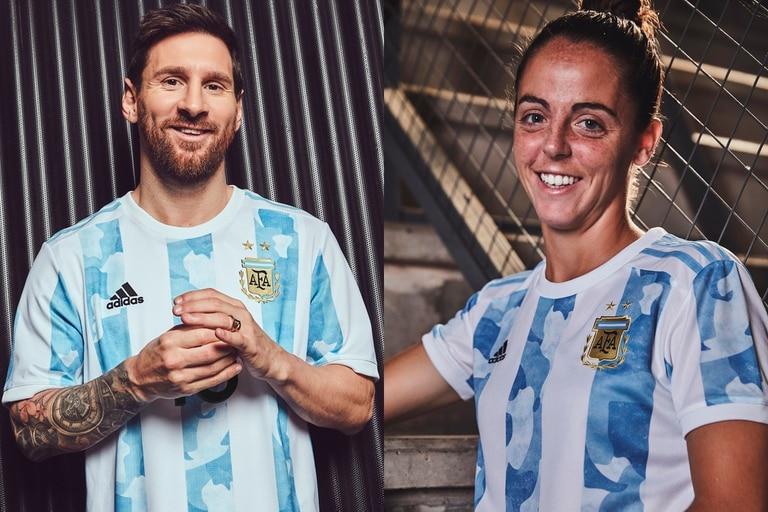 Lionel Messi y Mariana Larroquette posan con la nueva camiseta de la selección argentina (Prensa adidas)