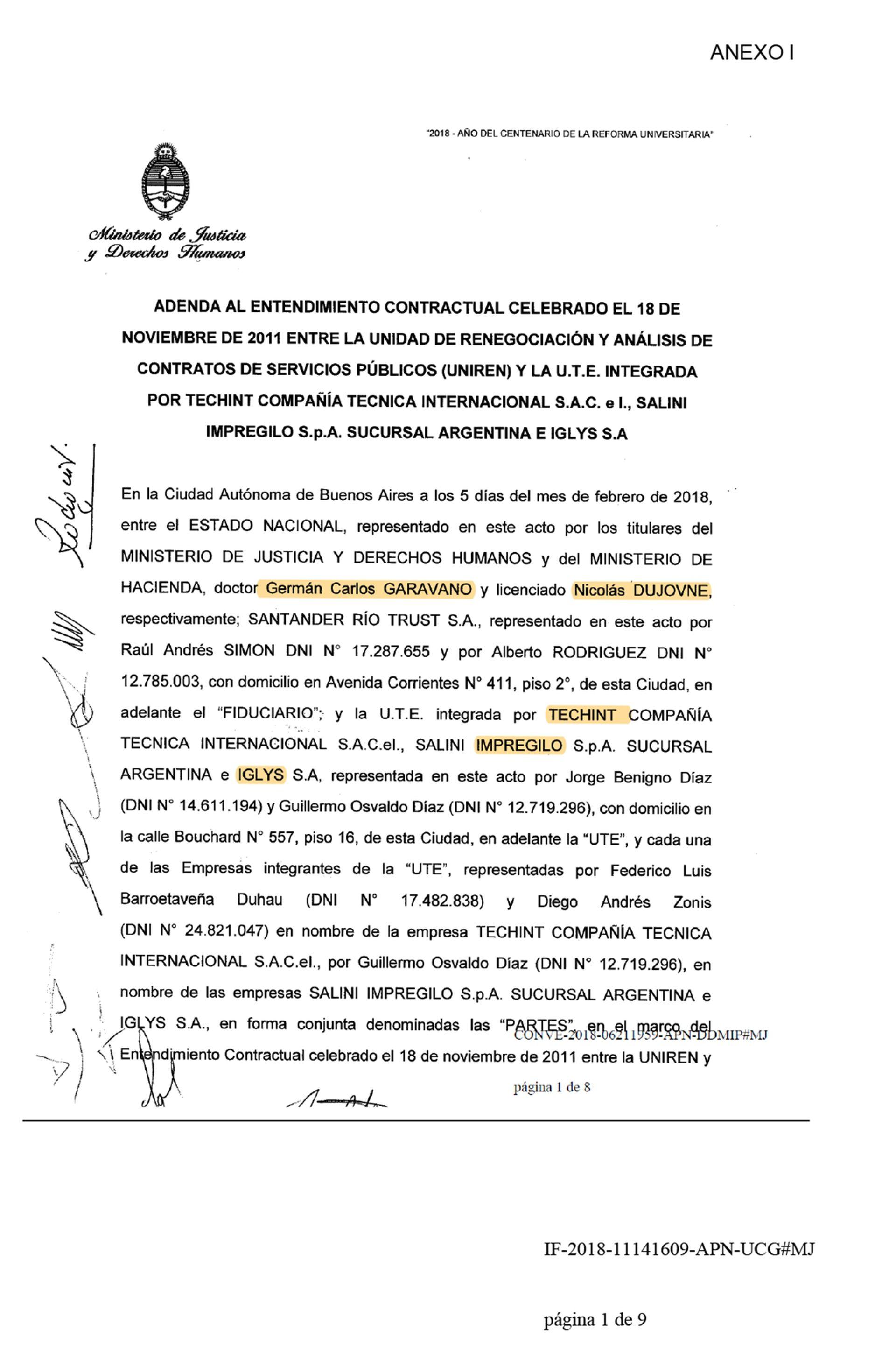 En el caso de Ezeiza, la administración de Mauricio Macri llegó a un acuerdo para pagar la deuda, como muestra el documento. No ocurrió lo mismo con el penal de Marcos Paz.