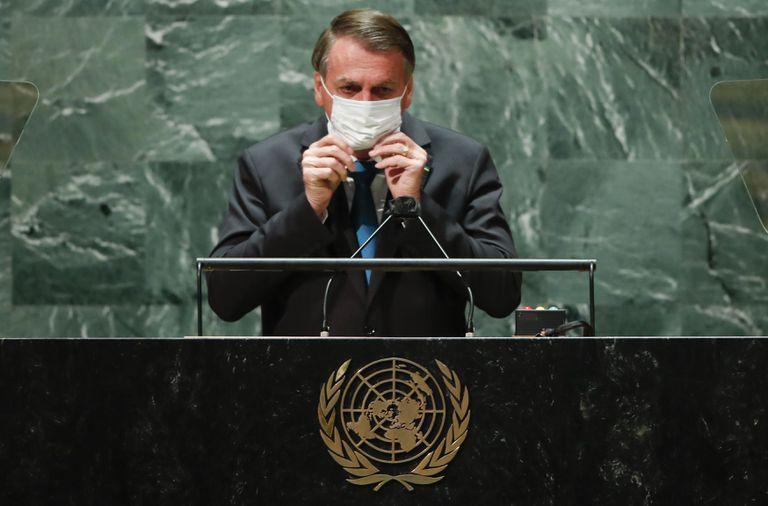 El presidente Jair Bolsonaro en la Asamblea General de Naciones Unidas, en Nueva York. (Eduardo Munoz/Pool Photo via AP)