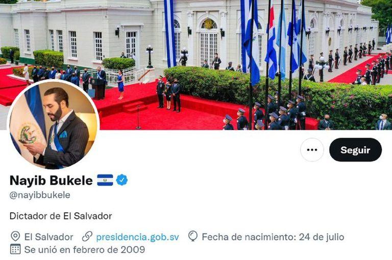 La nueva biografía de Twitter del presidente de El Salvador, Nayib Bukele