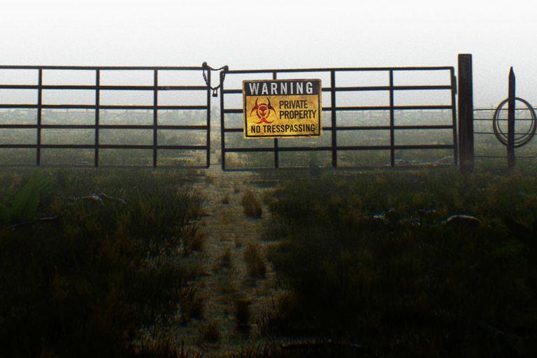 El portón de entrada al rancho Skinwalker en Utah, Estados Unidos, que advierte sobre los peligros de cruzar y adentrarse en el lugar