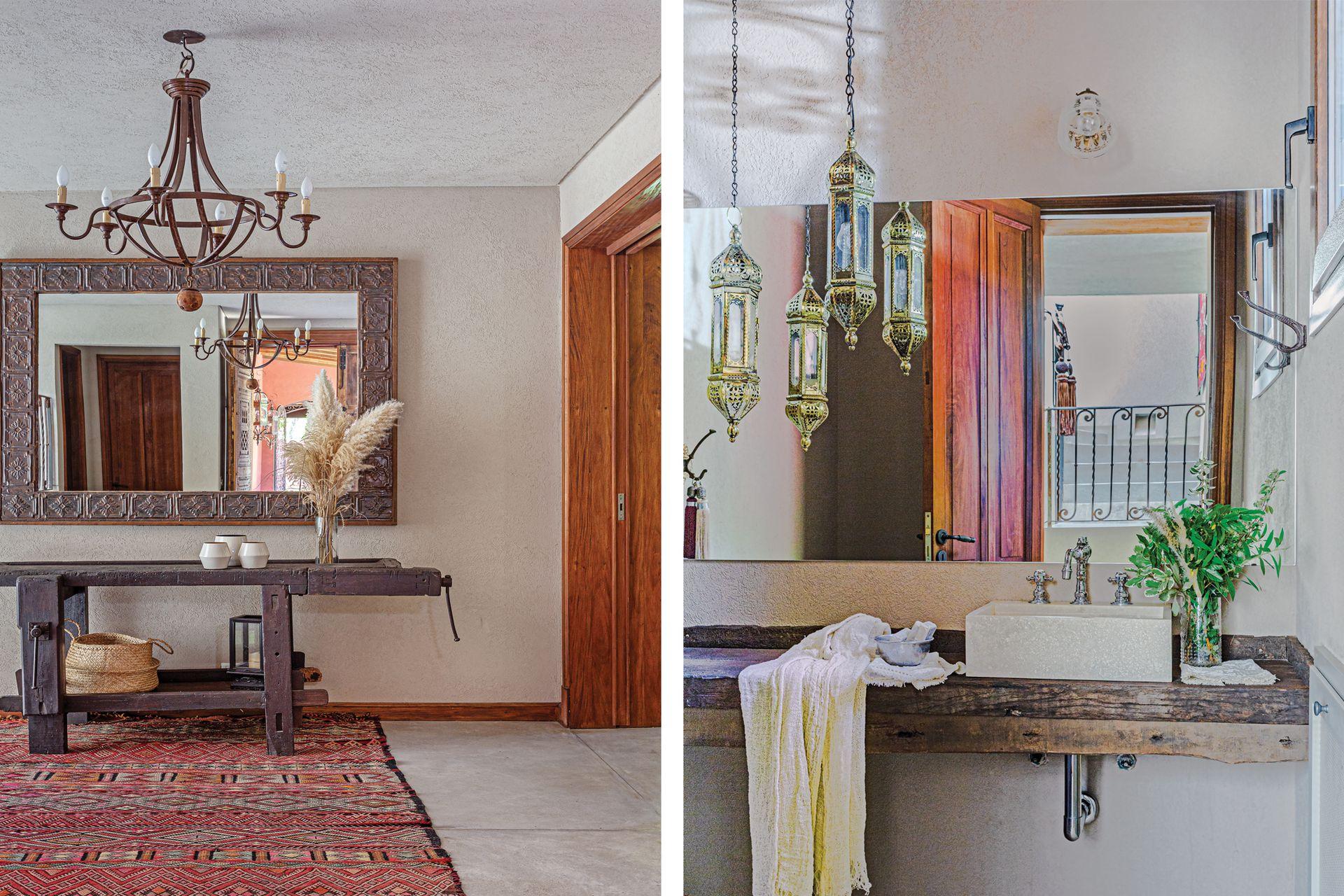 En el hall, mueble de Carpintería Cosas Viejas, de Manuel Montivero, y alfombra de colorido similar al de la fachada.