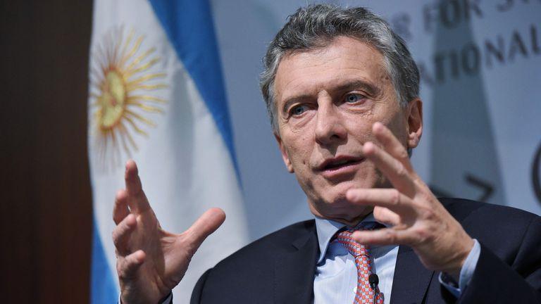 Mauricio Macri hablando durante un foro con miembros del Centro de Estudios Estratégicos e Internacionales (CSIS)
