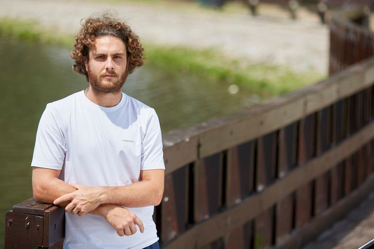 Marco Trungelliti, durante su encuentro con LA NACION, en los alrededores del Buenos Aires Lawn Tennis Club