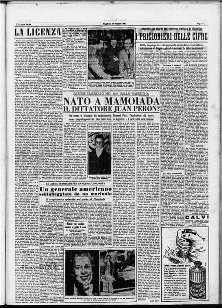 """""""Mamoiada dividida en peronistas y no peronistas"""", es el título de uno de los artículos firmados por Nino Tola"""