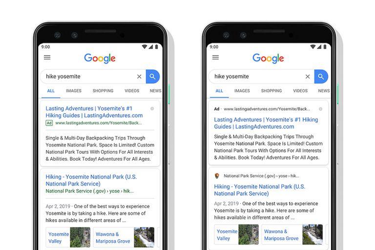 El reciente rediseño de la compañía fue recibido con críticas por el aspecto similar que tiene la publicidad respecto a los resultados de búsqueda