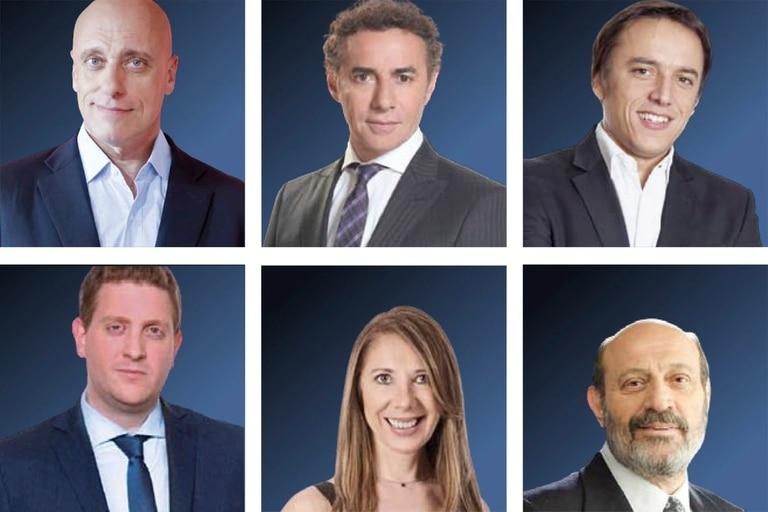 Carlos Pagni, Luis Majul, José Del Río, Jonatan Viale, Laura Di Marco y Alfredo Leuco