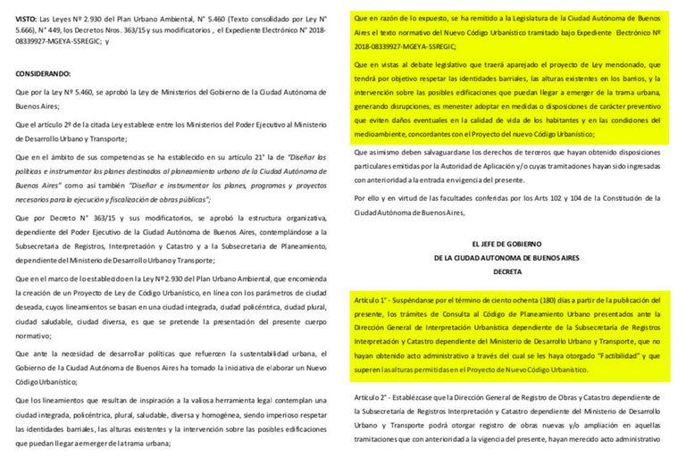 Borrador del decreto que firmará Larreta el lunes