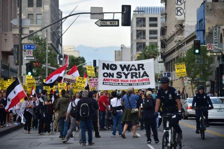 Hubo varias manifestaciones en Estados Unidos contra el ataque