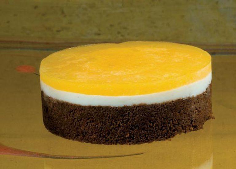 Torta de choco, mango y yogur