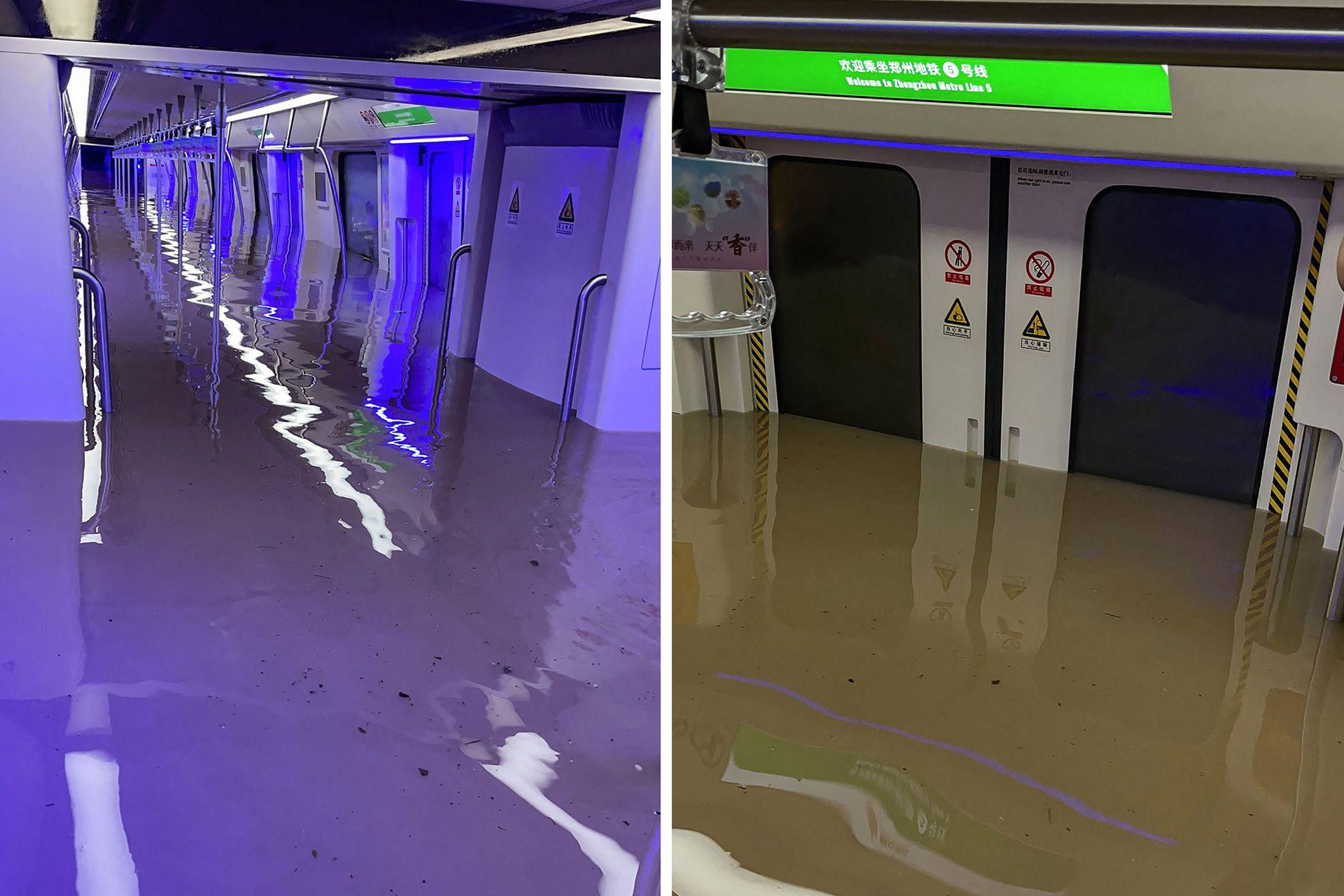 Vistas de un vagón de metro sumergido después de las fuertes lluvias en Zhengzhou, en la provincia central china de Henan