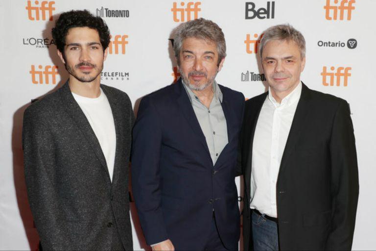 Chino y Ricardo Darín y el director Sebastián Borenzstein en el festival de Toronto 2019, presentando La odisea de los giles