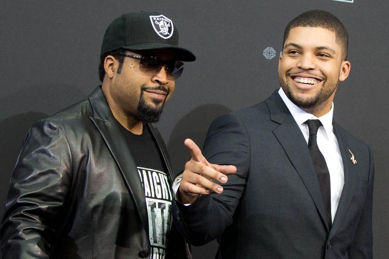 Ice Cube y su hijo actor O'Shea Jackson Jr. en Berlín para el estreno  europeo de Straight Outta Compton