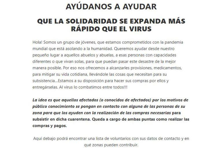 """El mensaje del grupo amigos en su sitio web """"Ayudando en Cuarentena""""."""
