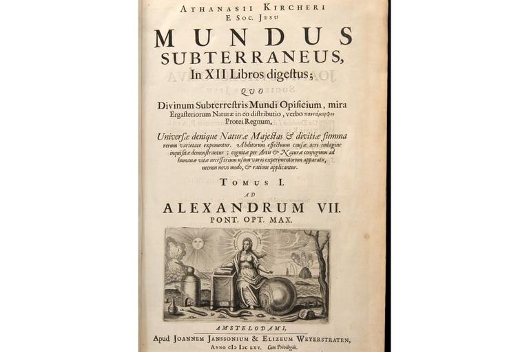El primer tomo de Mundus subterraneus de Atanasius Kircher
