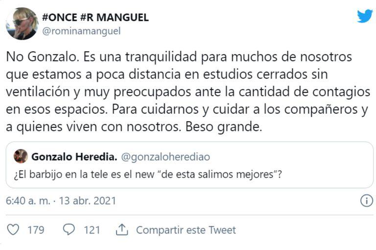 El cruce de Romina Manguel y Gonzalo Heredia en Twitter
