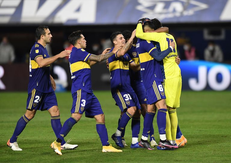 Escena del partido que disputan Boca Juniors y River Plate por la Copa Liga Profesional 2021