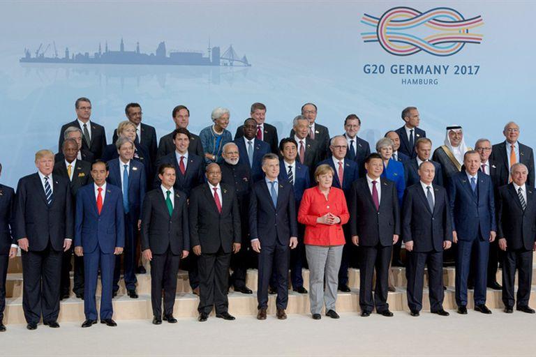 Los líderes mundiales del G-20, el año pasado, en Hamburgo, Alemania