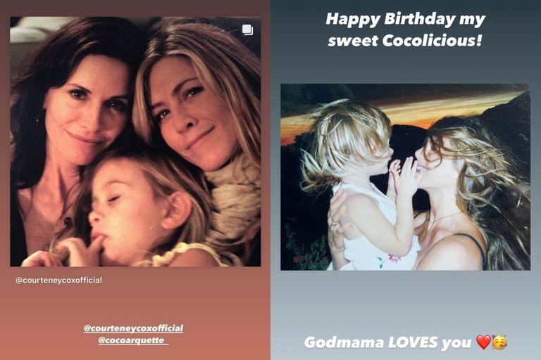 El dulce saludo de Aniston a la hija de Cox en su cumpleaños número 17