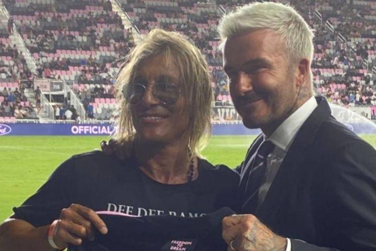 """Beckham recibió al """"Pájaro"""" Caniggia como una """"leyenda"""" y le hizo un regalo muy especial"""